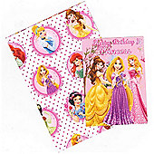 Gem Disney Princess Wrapping Paper, Birthday Card and Gift Tags Pack