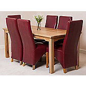 Aspen Solid Oak 150 cm Dining Table with 6 Lola Leather chairs (Burgundy)