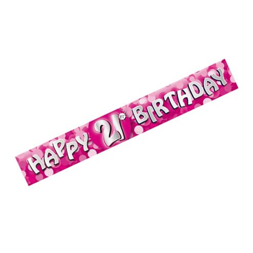 Amscan Happy 21st Birthday Sparkle Foil Banner Pink