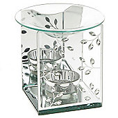 Crystal - Crystal Leaves Glass Oil Burner - Clear / Silver