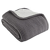 Knitted Sherpa Throw Grey