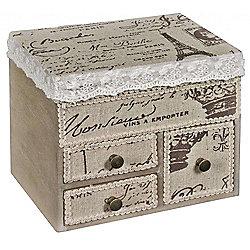 Beaujolaise - Mini Storage Chest / Jewellery Box - Cream / Brown