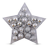 20 Multi-finish Mini Shatterproof Silver Christmas Bauble Decorations in Star Shaped Box