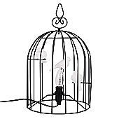 Avis Domed Birdcage Table Lamp in Black with White Ceramic Birds