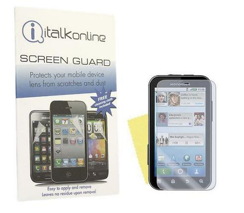 iTALKonline S-Protect Anti Glare LCD Screen Protector and Cleaning Cloth For - Motorola Defy