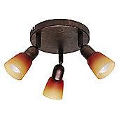 Brilliant Sofia Round 3 Light Ceiling Spotlight - Old Copper / Red-Orange