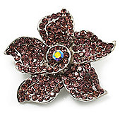 Small Lavender Pink Diamante Flower Brooch (Silver Tone)