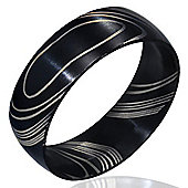 Urban Male Modern Black Brushed Finish Stainless Steel Men's Ring 8mm