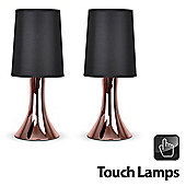 Pair of Trumpet Touch Table Lamps in Copper with Black Shades
