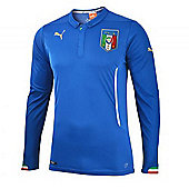 2014-15 Italy Home World Cup Long Sleeve Shirt - Blue