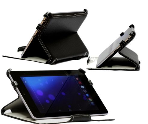 Navitech Black Multi Stand Hard Faux Leather Case For The Asus Google Nexus 7 Inch