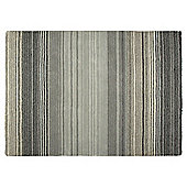 Tesco Thin Wool Stripe Rug 70X130, Black & Grey