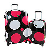 Swiss Case 4 Wheel Hard 2Pc Suitcase Set Pink Disco