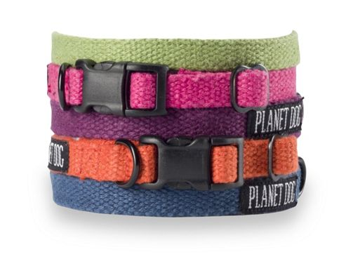 Planet Dog Flat Hemp Adjustable Dog Collar - Blue
