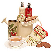 This beautiful cream watering can packed with creams and soaps to pamper her after a hard days gardening is a great gift. Also comes with pretty flora