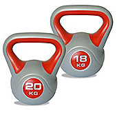 Body Power 18kg & 20kg Vinyl Kettlebell Set