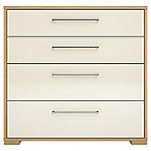 Modular Oak 4 Drawer Chest with Ivory Gloss Drawers