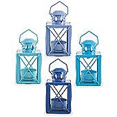 Set of Four 'Frinton' Coastal Blue Miner's Lantern Tealight Candle Holders