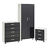 Ideal Furniture Regal Bedroom Collection - White / Black Gloss