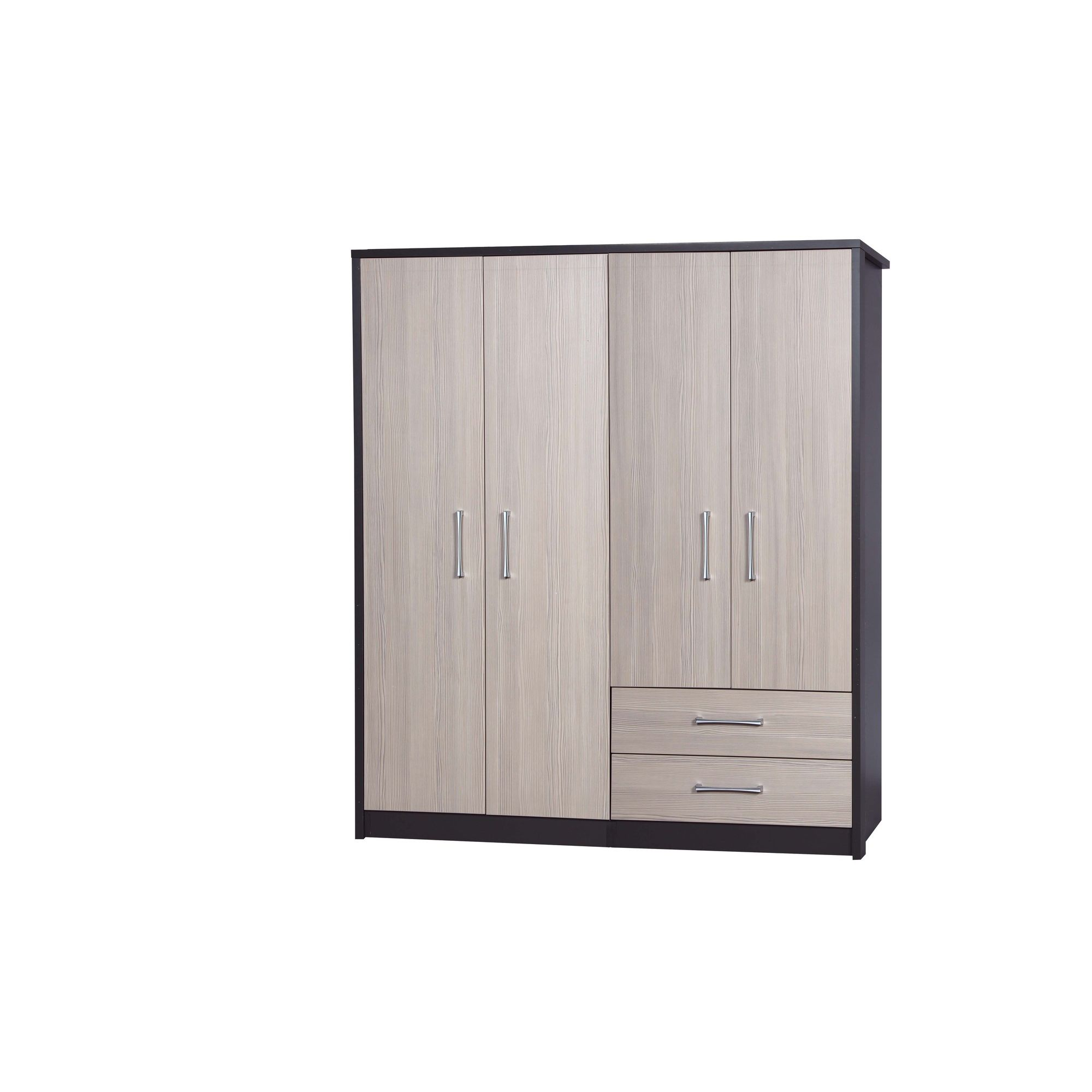 Alto Furniture Avola 4 Door Combi and Regular Wardrobe - Grey Carcass With White Avola at Tesco Direct