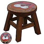 Rustic Solid Wood Carved Childrens Character Stool