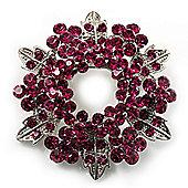 Bright Magenta Crystal Wreath Brooch