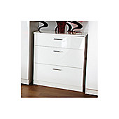 Welcome Furniture Mayfair 3 Drawer Deep Chest - White - Ruby - White