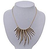Gold Plated Swarovski Crystal Curved Bar Necklace - 36cm Length/ 6cm Extension