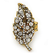 'Autumn Dew' Swarovski Crystal Leaf Stretch Ring In Burnt Gold Plating - Adjustable size 7/8