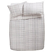 Tesco Checked Brushed Cotton Duvet Cover And Pillowcase Set, Pink, King Size