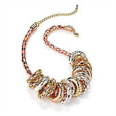 3-Tone Metal Mesh Ring Choker Necklace (Gold, Silver & Copper Tone) - 32cm Length