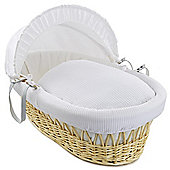 Clair de Lune Natural Wicker Moses Basket (Soft Cotton Waffle White)