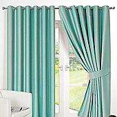 Dreamscene Ring Top Lined Pair Eyelet Thermal Blackout Curtains - Aqua - Aqua