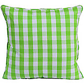 Homescapes Cotton Block Check Green Scatter Cushion, 45 x 45 cm