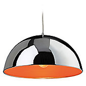 Firstlight Bistro 1 Light Bowl Pendant - Chrome with Orange Inside