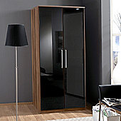 Amos Mann furniture Milano 2 Door Wardrobe - Black and Walnut