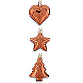 Set of Three Glass Christmas Baubles Heart, Star & Tree in Copper