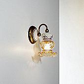 Siru Vecchia Fattoria One Light Wall Bracket - Amber Scavo + Ceramica Celeste Gialla