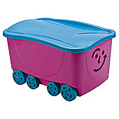Smiley Face Wheeled Trunk with Lid - Pink