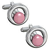 Clancy - round Pink Cat Eye Cufflinks