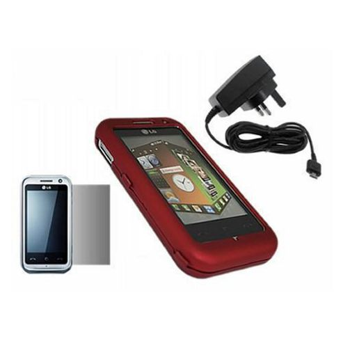 iTALKonline LCD Screen Protector, Mains Charger and SnapGuard Case Red - For LG KM900 Arena