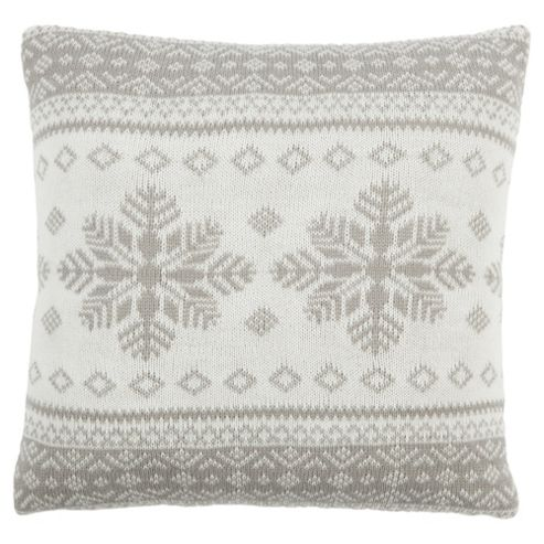 Scandi Snowflake Cushion Grey
