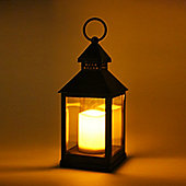24cm Antique Gold Lantern with Flickering Flame