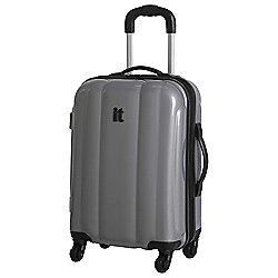 IT Luggage Hard Shell 4-Wheel Suitcase, Silver Small