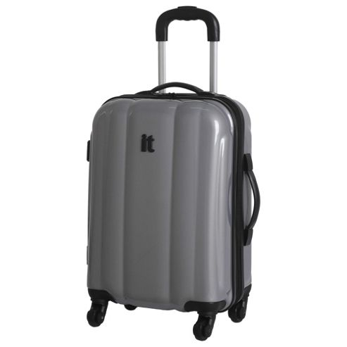 buy it luggage hard shell 4 wheel suitcase silver small. Black Bedroom Furniture Sets. Home Design Ideas