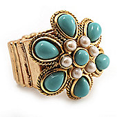 Turquoise Coloured Acrylic Bead Flower Stretch Ring (Gold Tone Metal)