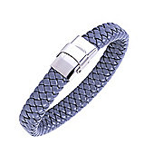 Urban Male Men's 11mm Flat Plaited Leather Bracelet in Grey