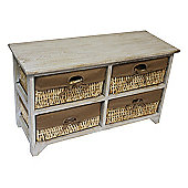 JVL Maize 4 Drawer Flamed Wood Cabinet