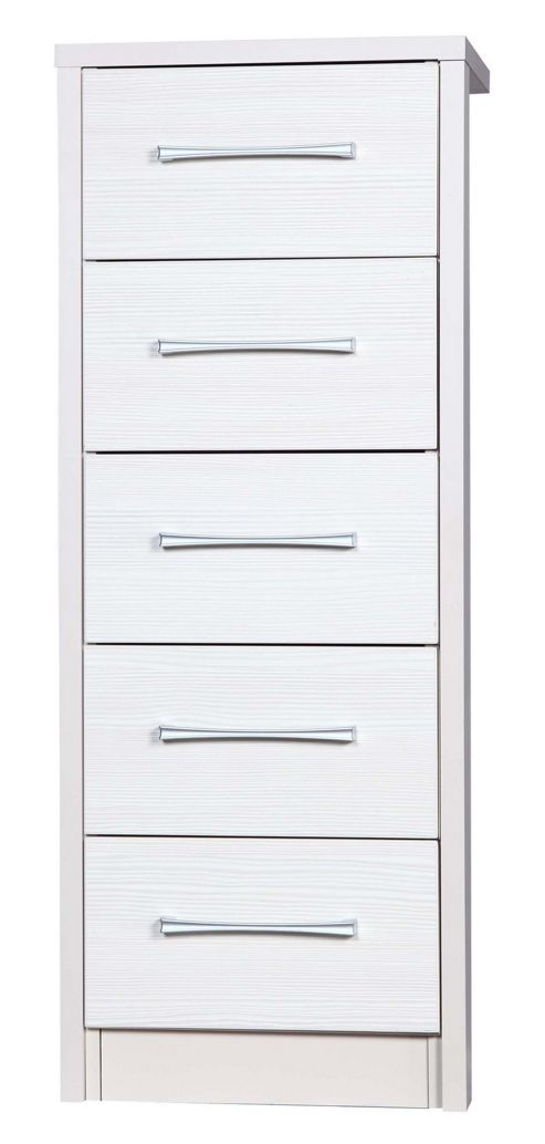 Alto Furniture Avola 4 Drawer Tall Boy Chest - Cream Carcass With White Avola