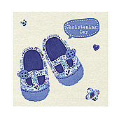 Cute Boy's Christening Card with Blue Floral Shoes Design.